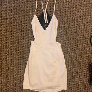 Lulu's white bodycon dress with black lace